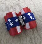 """Mo's USA Dog Bows - 7/8"""" double loop dog bow -  4th of July - Yorkie+"""