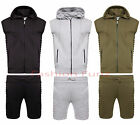 Mens Ribbed Jogging Running Set Lined Hood Two Piece Zipper Short Cord Tracksuit