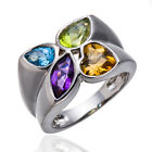 Genuine Multi-color Gemstone Solid 925 Sterling Silver Ring Friendship Best Gift