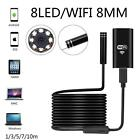 8LED Endoscope WiFi Borescope Inspection Camera 8mm HD for Phone Android PC