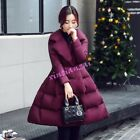 Winter Womens Bow Mid Long A Style Cotton Padded Coat Silm Fit Coat Sweet hot