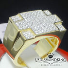 MEN'S DEISGNER NEW 10K YELLOW GOLD ON STERLING SILVER LAB DIAMOND SIMULATED RING