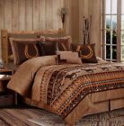 Microsuede Brown Western Horses Diamond Ranch 7 pcs Cal King Queen Comforter set image