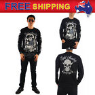 AU New Men's Black T-shirt Long Sleeve Bad Boy Vintage Style Eight Monday M-XL