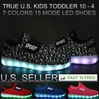 Kids LED Light Up Sneakers Luminous Shoes Boys Girls USB Charger Lace Athletic