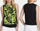 Michael Kors Paradise Pear Green/Black Palm Print Grommet Top MS54KFE1PA $99.50