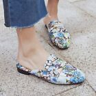 Fashion Womens Leather Floral Flats Slippers Shoes Mules Sandals Oxfords Size