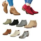 NEW Women Almond Toe Zipper Chunky Heel Ankle Booties Boots Size 5.5 -10