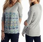 Chip & Pepper CALIFORNIA Jeans Gray L/S Printed Cotton Tee Top w/Lace Detail $39