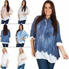 Womens Italian Casual Cotton Lagenlook Knitted Sequin Side Panel Lace Top M 2XL