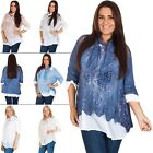 Womens Italian Knitted Sequin Casual Cotton Lagenlook Tunic Top Side Panel Lace