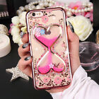 Lovely Cute Bling Diamond Crystal Flowers Liquid Hourglass Soft Phone Case Cover