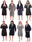 Mens Hooded Dressing Gown Snuggle Fleece Blue Grey Check Plain Robe Winter Thick