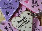 SMALL HEART KEYRING .. BEST AUNTIE .. SHABBY CHIC CHRISTMAS GIFT