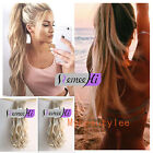 High Ponytail Wavy 100% Remy Human Hair Extensions Clip In Body Tie Up Ponytail