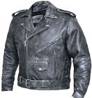 MENS TERMINATOR STYLE DISTRESSED ANTIQE GREY PREMIUM LEATHER JACKET SIDE LACES