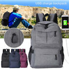 Unisex Anti-Theft Backpack Rucksack Casual Travel School Bags USB Charging Port