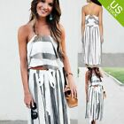 Women 2 Piece Outfit Stripe Crop and Wide Leg High Waist Loose Baggy Casual Pant