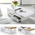 ModaNuvo White Black Gloss Oak Extending Storage Coffee Table With Drawer