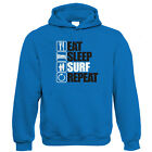 Eat Sleep Surf Repeat Hoodie - Surfing Christmas Gift for Him Dad