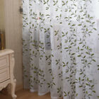 A panel green leaves Embroidery Voile white Window lace Curtains eyele 220 240
