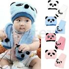 Baby Kids Unisex Cute Knitted Wool Panda Slouchy Baggy Outdoors Hat Scarf