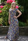 Women's Elegant Long Summer Evening Party Dress Exotic Print on Royal Blue UK