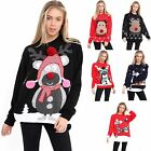 Womens Pom Pom Hat Bear Rudolph Snow Jumper Ladies Christmas Novelty Sweater Top
