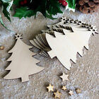 10Pcs Christmas Wood Chip Tree Ornaments Xmas Hanging Pendants Decoration Gifts