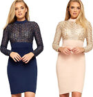 Womens Turtle Neck Lace Long Sleeve Knee Length Stretch Ladies Bodycon Dress