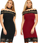 Womens Bardot Off Shoulder Scallop Trim Lace Panel Ladies Bodycon Mini Dress