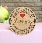 Round Paper Stickers 'Thank you, Hand made with love' Gift Food Craft Wedding