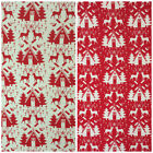 CANVAS Christmas Nordic themed fabrics red & cream 112cm wide 100% cotton