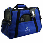 Pet Carrier Cat Dog Airline Approved Fleece Bag Medium Black Blue