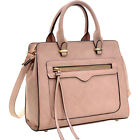 Dasein Faux Leather Satchel with Front Zipper Pocket -
