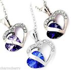 Sparkly Crystal Twin Hearts Couple Love Pendant Necklaces