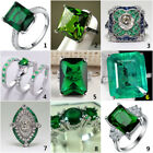 925 Sterling Silver Vintage Emerald Ring Women Wedding Fashion Jewelry Size 6-10