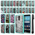 For LG G Stylo LS770 G4 Note Hybrid Clear Teal bumper Case Phone Cover + Pen