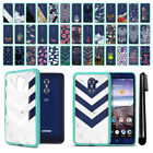 For ZTE Kirk Z988 Hybrid Clear Teal bumper Protective Case Phone Cover + Pen