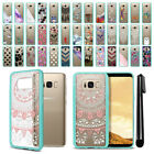 "For Samsung Galaxy S8 G950 5.8"" Hybrid Clear Teal bumper Case Phone Cover + Pen"