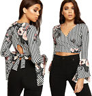 Womens Floral Striped Print Flared Bell Sleeve Ladies Wrap Over Tied Crop Top