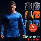 Mens Sport Long Sleeve Fitness Gym Compression Under Base Layer Top T-Shirts