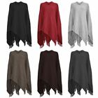 New Ladies Warm Knitted Pullover Poncho Waffle Girls Winter One Size Shawl