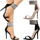 New Women Jeweled Rhinestone Ankle Strap Cuff Open Toe Stiletto Heel Sandal Pump