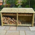 Normanton 4ft Wooden Log Store - Also Available With Doors - UK Hand Made