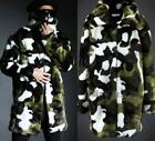 Mens Camo Fur Thick Long Parka Jacket Winter Warm Outwear Overcoat Coat Fashion