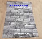 Job Lot 5 Roll Wallpaper White Silver Grey Shimmer Brick Pattern Faux Mural 6753