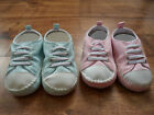 Baby Boys/Girls Soft Slip On Pram Shoes- Turquoise or Pink