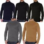 Mens Soulstar Plain Roll Polo Neck Fine Knitted Smart Jumper Sweater Size