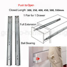 Push To Open Drawer Slides/Runners Side Mount Ball Bearing Slides Soft Closing